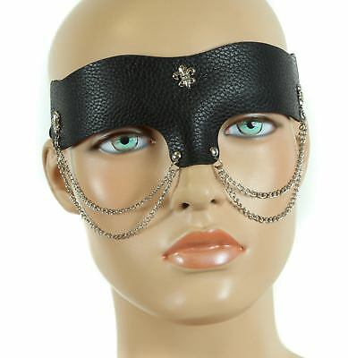 Steampunk Leather Like Chain  Eye Mask Masquerade Halloween Costume Black