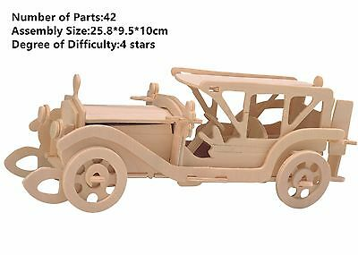 Puzzles & Geduldspiele Assembly DIY Education Toy 3D Wooden Model Puzzles Cool Running Chariot Car