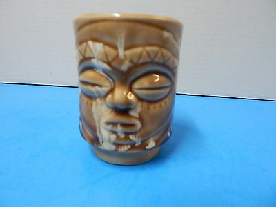 Vintage Porcelain Tiki Native Faces Cup Multi Shade of Brown Color