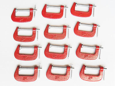 """12x 2"""" G Clamp Work Bench Clamp Vice for Woodwork Cast Iron Carpenter Grip Tool"""