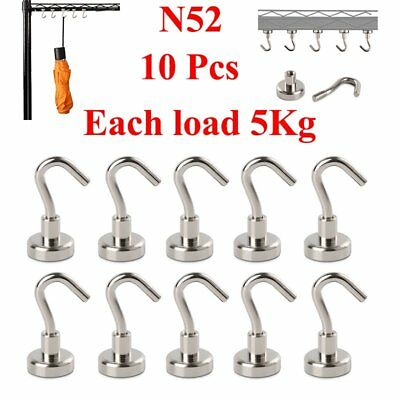 10pcs N52 Home Office Circular Iron Mini Strong Rare Earth Magnet Hook 5KG