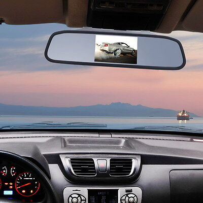 4.3'' Car TFT CCD Mirror Monitor Wired  Reverse Camera Rear View Park Cam Night