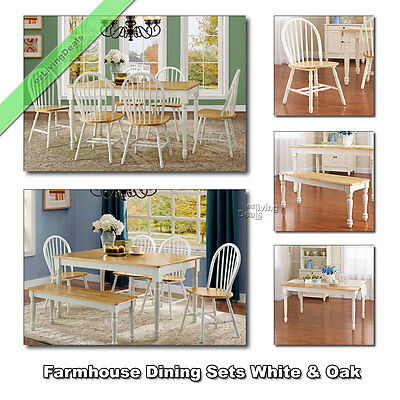 Farmhouse Dining Room Set, Tables Chairs Benches Wood Country Sets, White & Oak