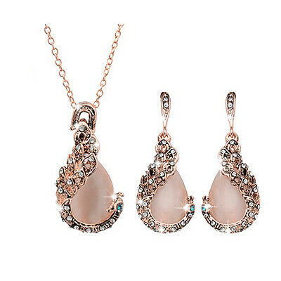 Fashion Women Peacock Crystal Opal Necklace Earring Rhinestone New Jewelry Sets