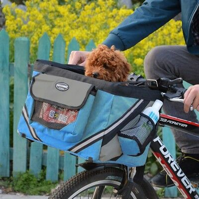 Blue Bicycle Bike Front Bag Carrier Basket Small Dog Cat Outdoor Travel
