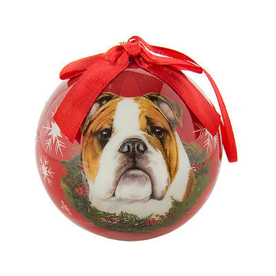 Red Bulldog Collection Christmas Ball Ornament Dog Artlist Holiday Collection