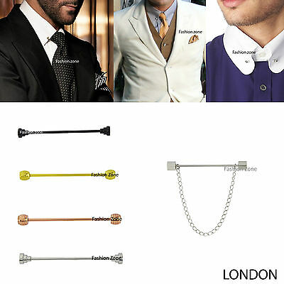 NEW Mens  5.5cm Tie Pin Bar Collar Barbell Ball Silver Gold Black Suit Shirt