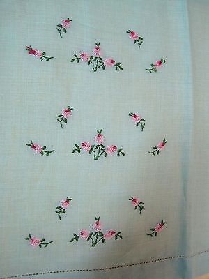 Vintage Guest Hand Towel Linen Soft Green with Pink Roses