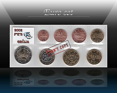 GREECE complete EURO SET - 8 coins SET 2002 (1 cent - 2 Euro) With Mint Mark FES