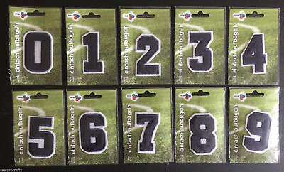 HKM Number Appliques Embroidered Patches Iron On Sport Football Shirt Grey Blue