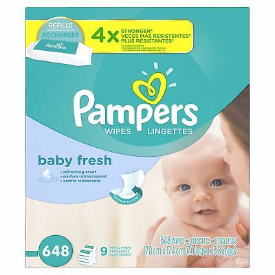 Pampers Fresh Baby Wipes 9X Refill 648 Count