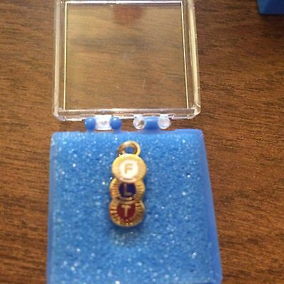 I.O.O.F. Odd Fellows Gold Charm with emblem Gift Boxed - NEW- FREE SHIPPING