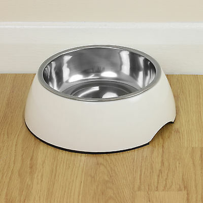 Large White Pet Food/Water Bowl Dog/Cat Stainless Steel/Non Slip Feeding Dish