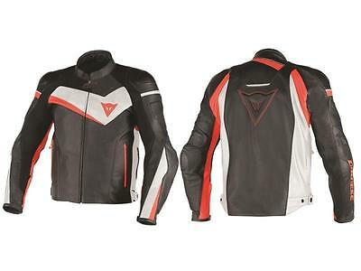 Giacca da moto in pelle Dainese Veloster AIR Nero / Bianco / Rosso Fluo (N32)
