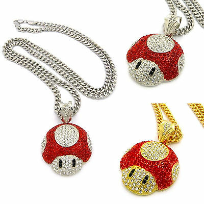 Mens Iced Out Super Mario Bros Red Mushroom Pendant Cuban Link Chain Necklace