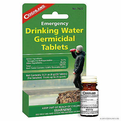 Coghlan's Emergency Drinking Water Germicidal Tablets,Lot of 22, 50 tablets#7620