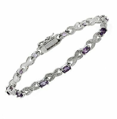 Genuine Amethyst and Diamond Infinity Bracelet in 14K Gold Over 925 Silver