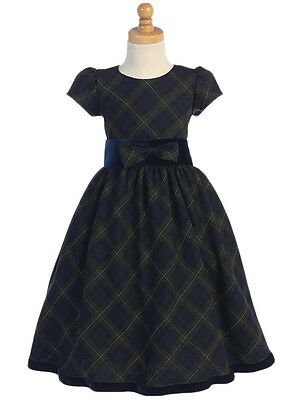 New Green Plaid Flower Girls Dress Christmas Holidays Elegant Pageant 813