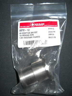 "Ace Glass 1"" Beaded Process Pipe to 1-1/2"" Sanitary Flange SS Adapter, 8872-12"