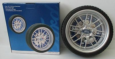 Ford new boxed rotating blue LED light tyre clock for home bar pub or collector