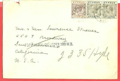 Cyprus KGV 1/2p Pair + 1p used on cover to USA  1933  gtc