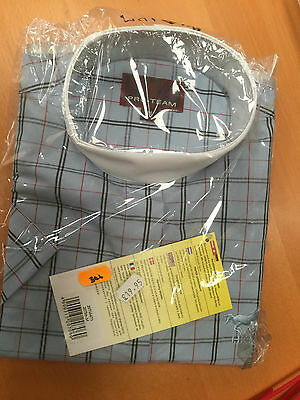 HKM 207cm Childs Stock Collar Riding Shirt Blue Check