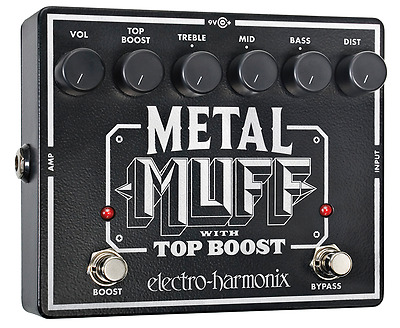 Electro Harmonix Metal Muff Distortion with Top Boost Guitar Pedal w/ 9V Battery
