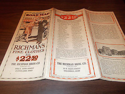 1928 Richman's Clothes Vintage Northeast US Road Map / Great Pictures and More !
