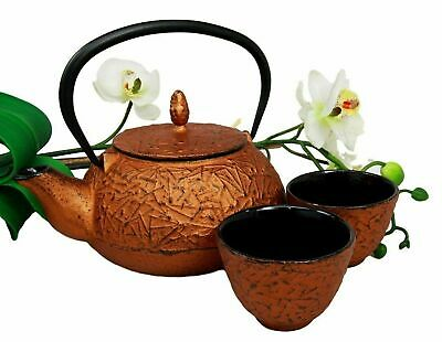 Japanese Pine Copper Finish Matchstick Pattern Heavy Cast Iron Tea Pot and Cups