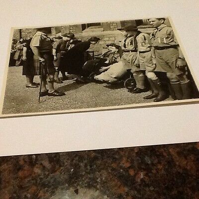 Vintage Picture Of The Queen Of England With British Boy Scouts
