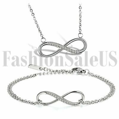 Women's Stainless Steel Love Infinity Symbol Promise Pendant Necklace Bracelet