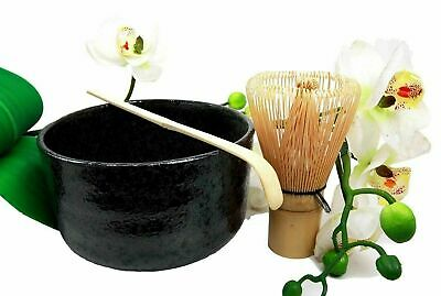 "4.5"" Diameter Japanese Black Matcha Tea Ceremony Set With Wooden Whisk and Spoon"