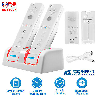 Nintendo Wii Remote Dual Charging Charger Dock Station + 2x 2800mAh Batteries
