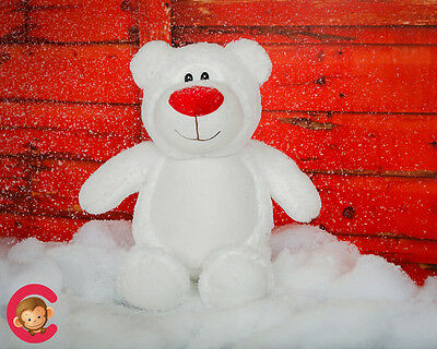 Embroidered White Christmas Teddy Bear Cubbie - Personalised Christmas Gift