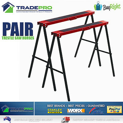 Saw Horse Trestle Steel 2pc Pair Foldable Work Bench Stand Support Legs Horses