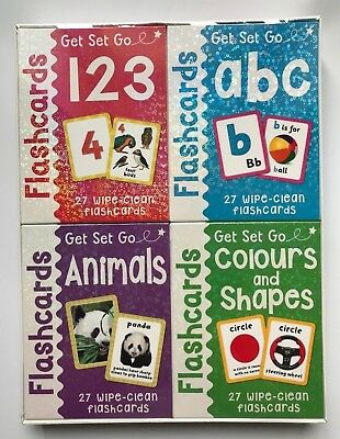 123 ABC Animals Colours & Shapes Wipe Clean Flash Cards Set Kids Ages 3+ Years