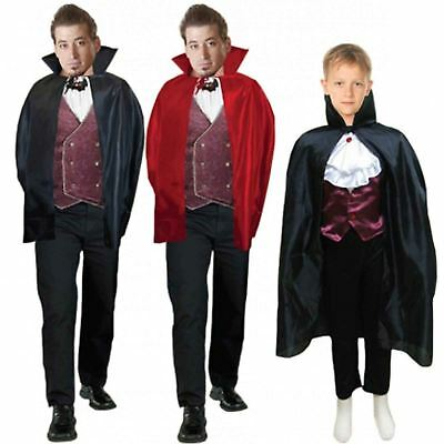 Dracula Cape Carded Adults Kids Halloween Fancy Dress Costume Vampire Witch 34""