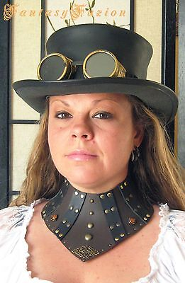 Victorian Classy Steampunk Cyber 2 Tones Leather High Neck Corset Gorget