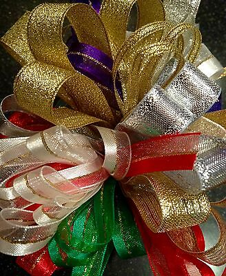 SPARKLY CHRISTMAS RIBBON BUNDLES 10 x 1M PACK GIFT WRAPPING, WREATHS, DECORATION