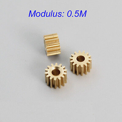 10 pcs Metal Gear spindle Copper gear 14 teeth 3.17mm id 0.5 Modulus DIY motor