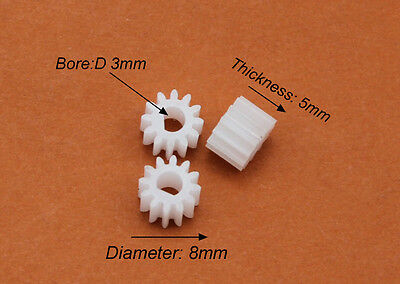 10pcs NEW Plastic gear 3mm 12 teeth D hole gear motor gear Toy model DIY Hot