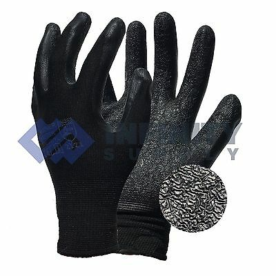 24 Pairs Latex Coated Safety Grip Rubber Black Nylon Work Gloves Builders