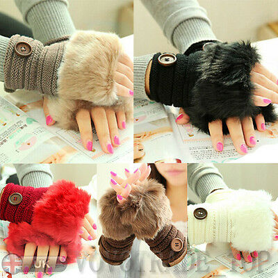 Women Ladies Girls Winter Warm Fingerless Wrist Gloves Soft Faux Rabbit Mittens