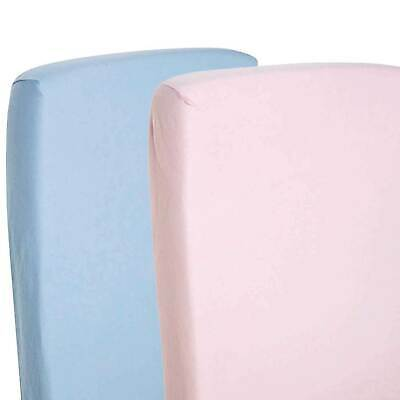 2x Fitted Sheets Compatible With Chicco Lullago Crib 100% Cotton - Blue/Pink