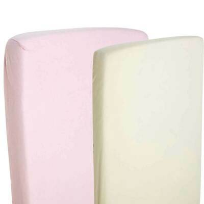 2x Fitted Sheets Compatible With Chicco Lullago Crib 100% Cotton - Cream/Pink