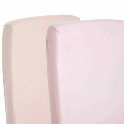 2x Fitted Sheets Compatible With Chicco Lullago Crib 100% Cotton - Pink