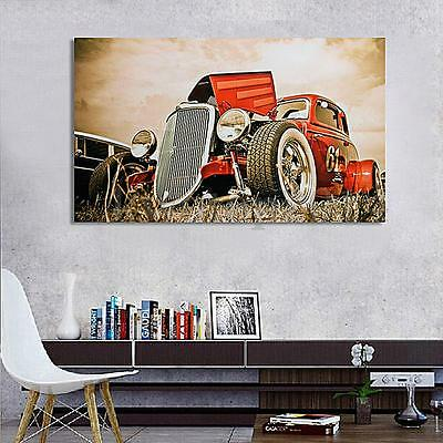 "Hot Rod Vintage Cars Silk Cloth Poster Art Paint Home Wall Decoration 40"" x 24"""
