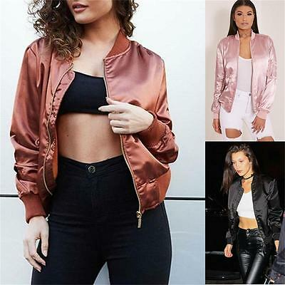 New Fashion Womens Ladies Vintage Zip Up Classic Padded Bomber Jacket Biker Coat