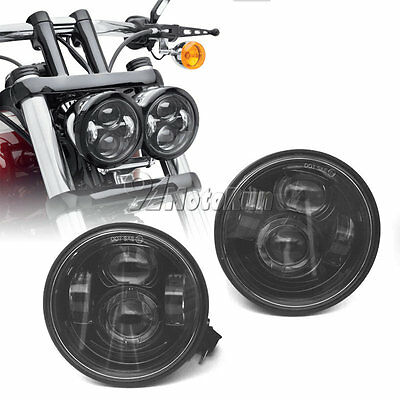 Black LED Motorcycle Daymaker HeadLights Lamp For Harley Fat Bob FXDF 2008-2015