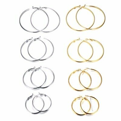 PLAIN HOOP EARRING 2 / 3 Inch Inches Silver Gold Round Pair Set Girl Accessories